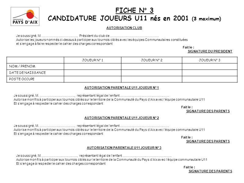 FICHE N° 3 CANDIDATURE JOUEURS U11 nés en 2001 (3 maximum)