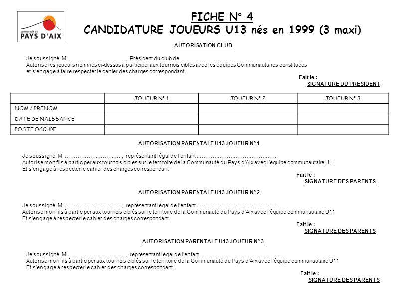FICHE N° 4 CANDIDATURE JOUEURS U13 nés en 1999 (3 maxi)