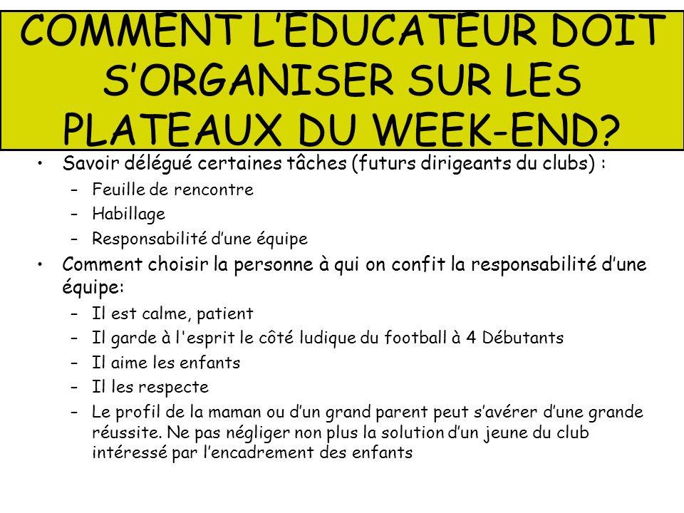 COMMENT L'EDUCATEUR DOIT S'ORGANISER SUR LES PLATEAUX DU WEEK-END