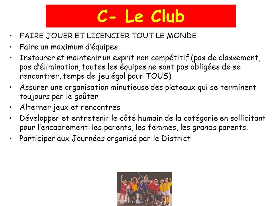 C- Le Club FAIRE JOUER ET LICENCIER TOUT LE MONDE