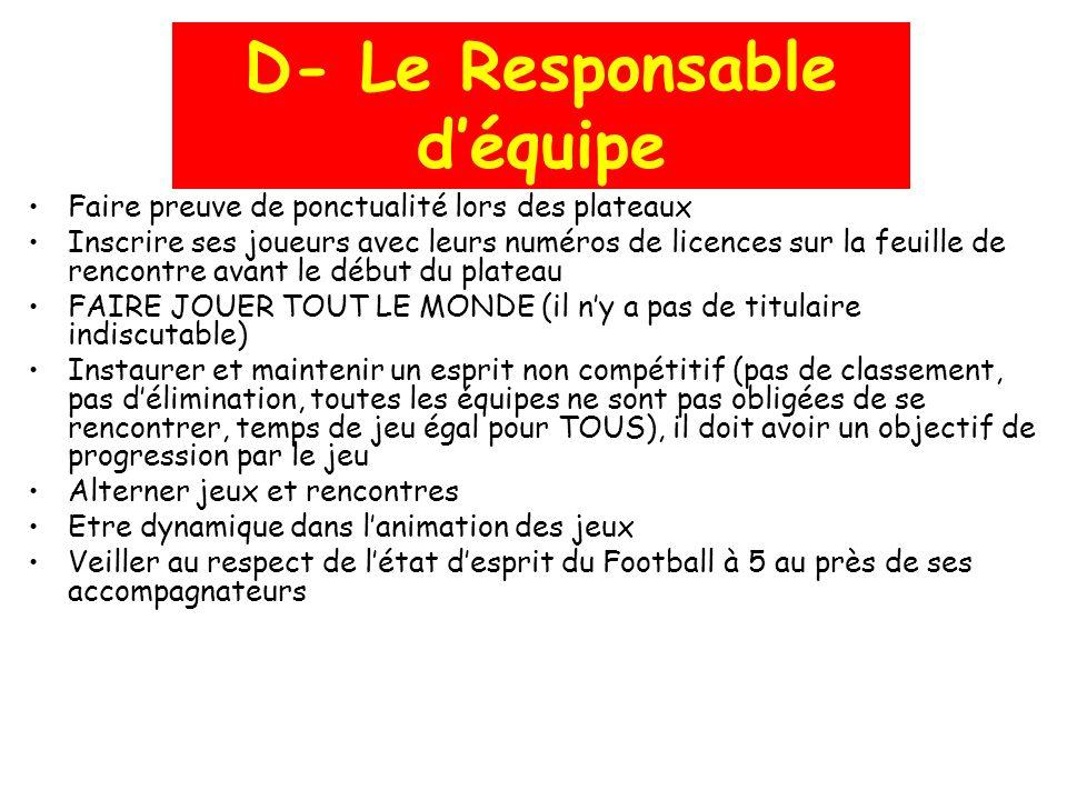 D- Le Responsable d'équipe