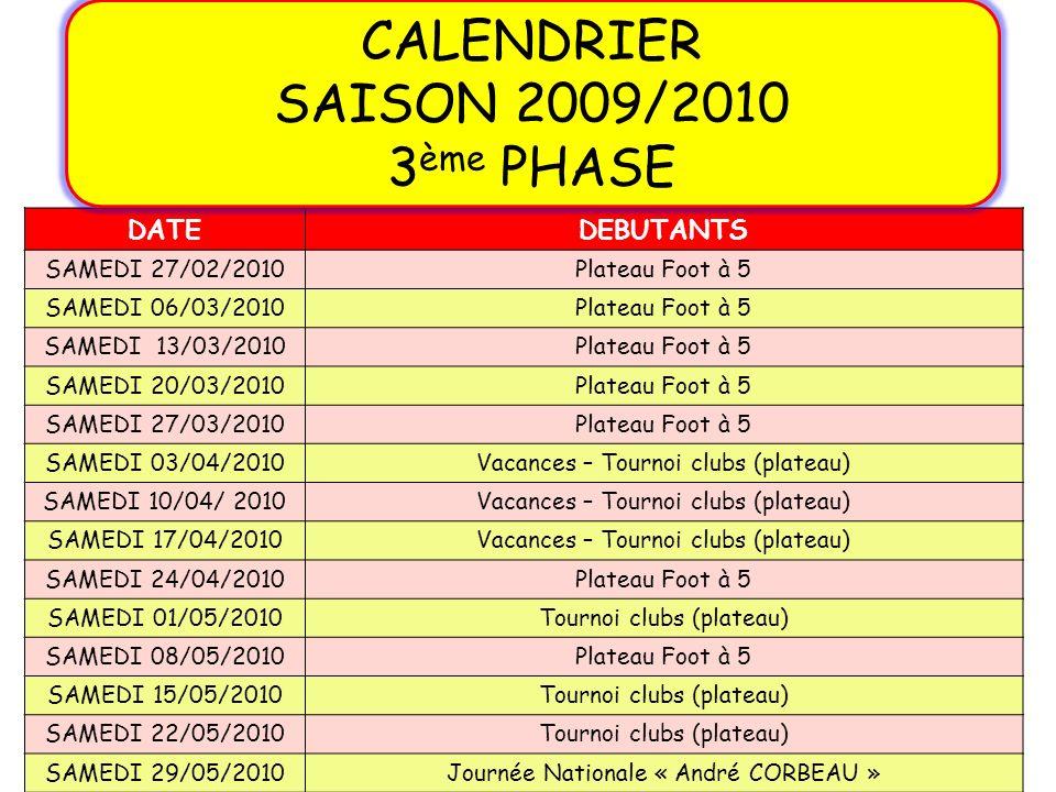 CALENDRIER SAISON 2009/2010 3ème PHASE DATE DEBUTANTS