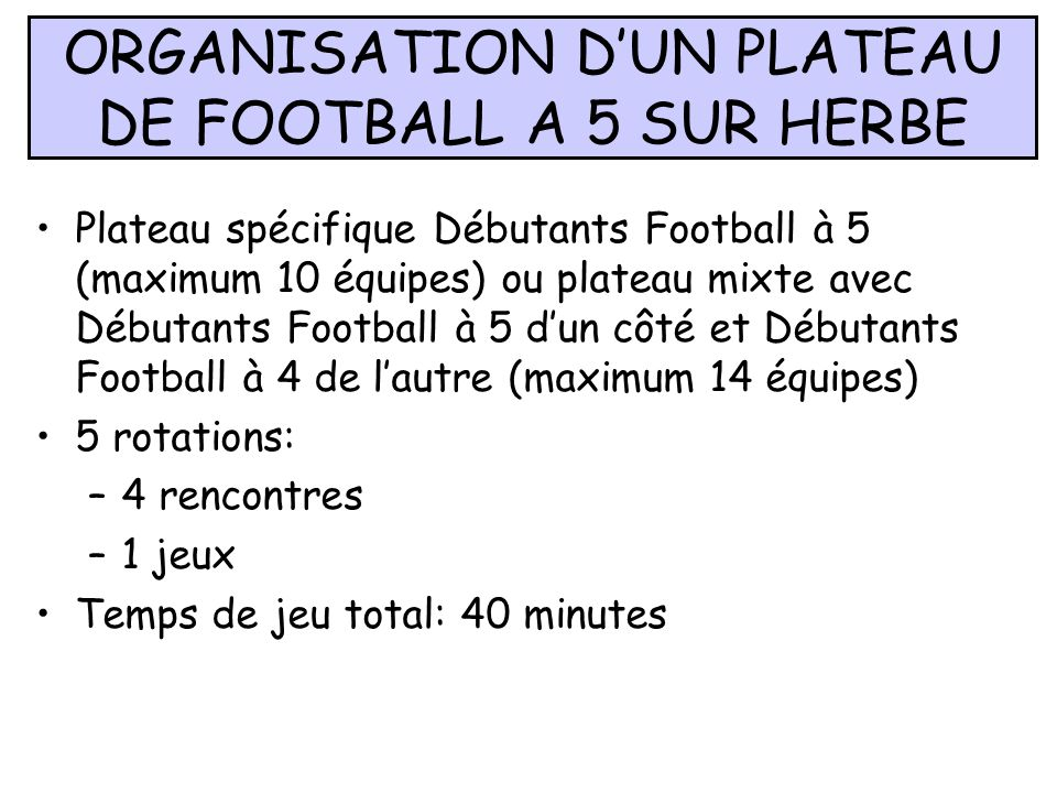 ORGANISATION D'UN PLATEAU DE FOOTBALL A 5 SUR HERBE