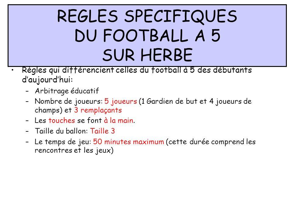 REGLES SPECIFIQUES DU FOOTBALL A 5 SUR HERBE