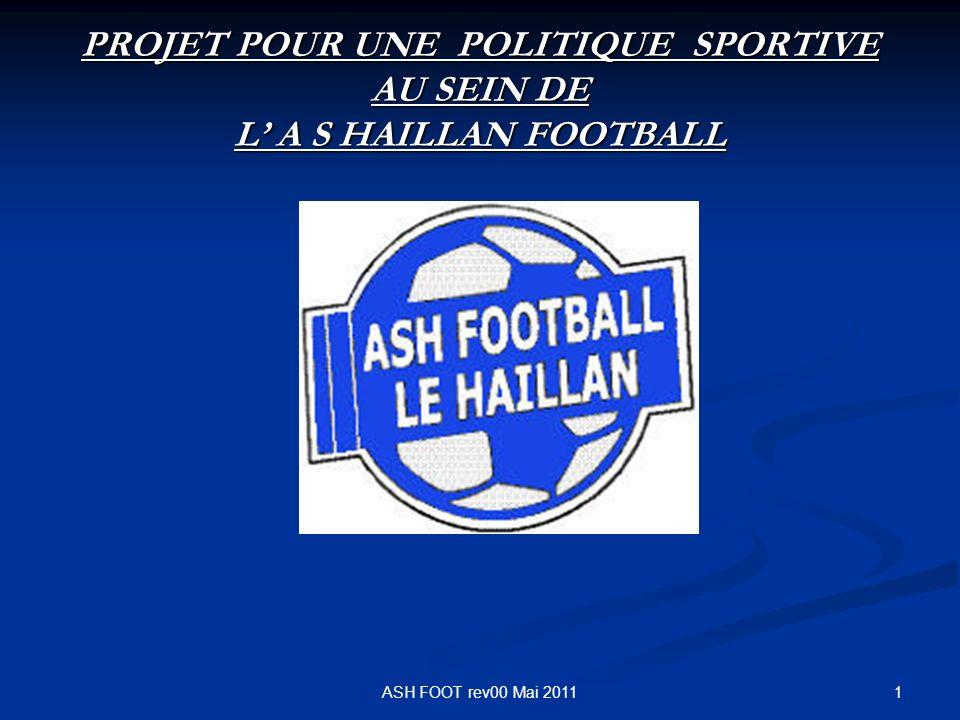 PROJET POUR UNE POLITIQUE SPORTIVE AU SEIN DE L' A S HAILLAN FOOTBALL