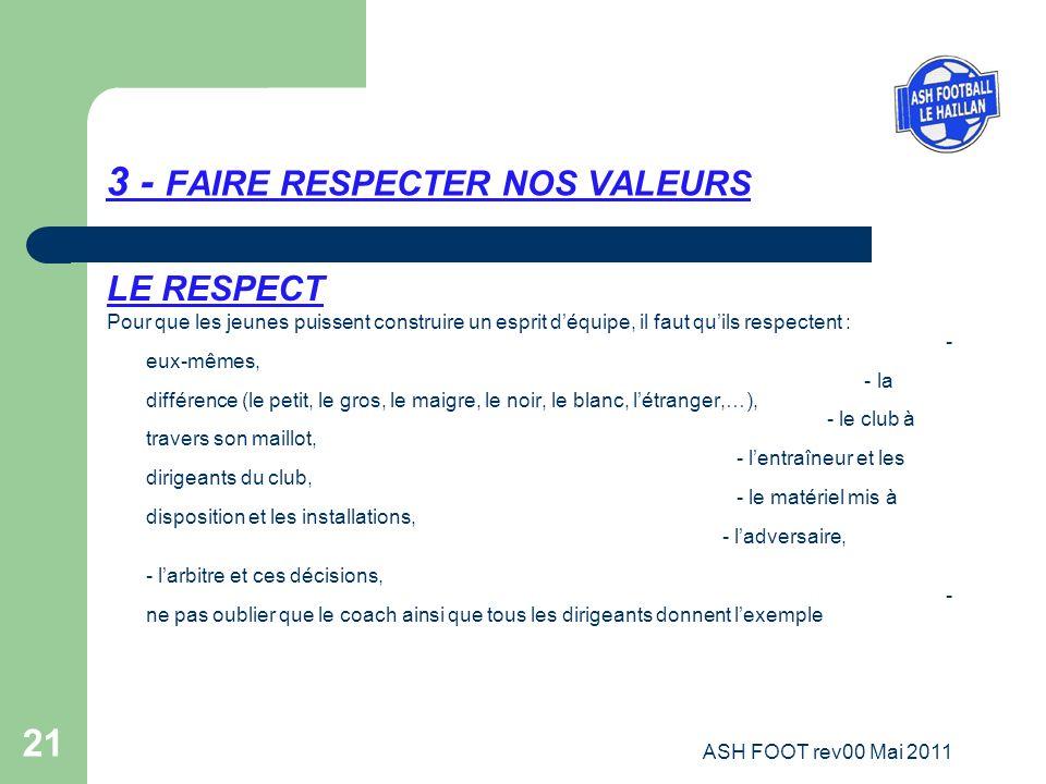 3 - FAIRE RESPECTER NOS VALEURS