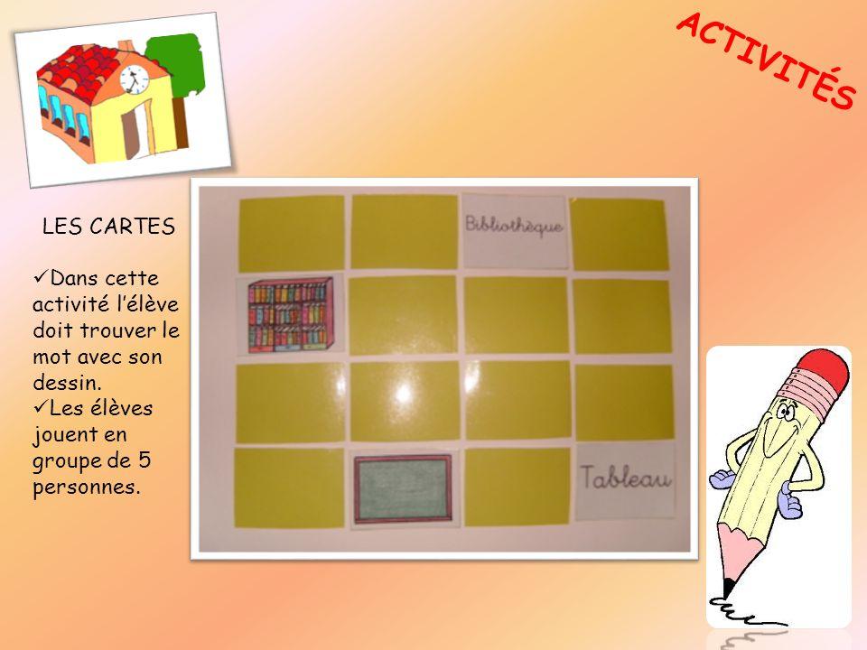 ACTIVITÉSLES CARTES.Dans cette activité l'élève doit trouver le mot avec son dessin.