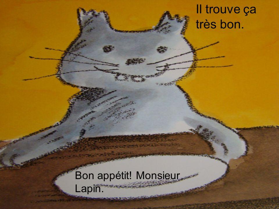 Il trouve ça très bon. Bon appétit! Monsieur Lapin.