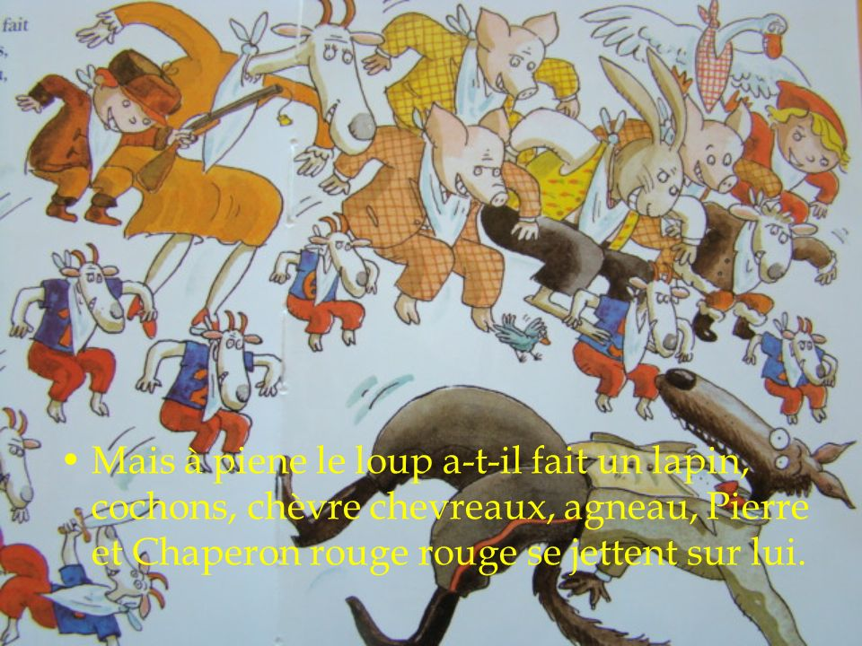 Mais à piene le loup a-t-il fait un lapin, cochons, chèvre chevreaux, agneau, Pierre et Chaperon rouge rouge se jettent sur lui.