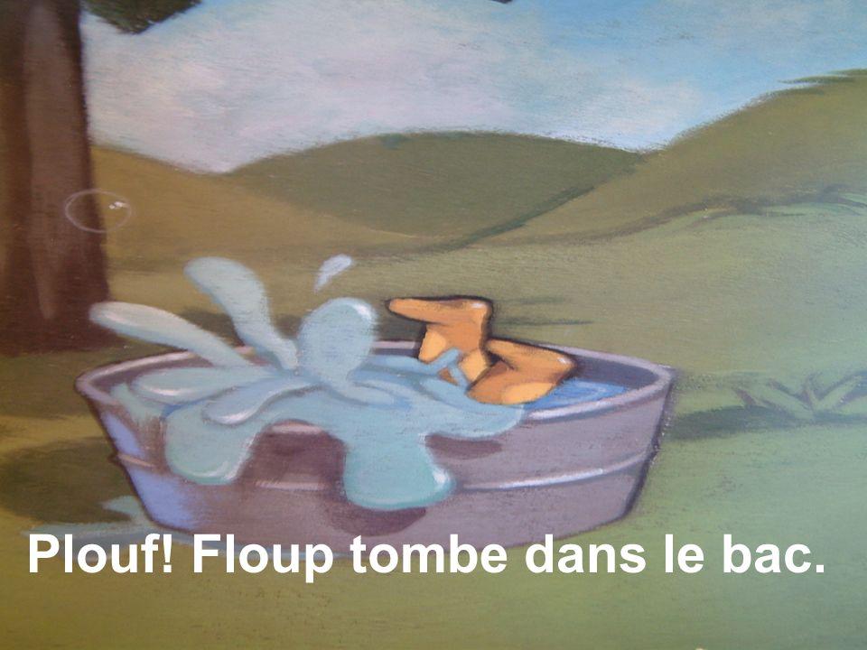 Plouf! Floup tombe dans le bac.