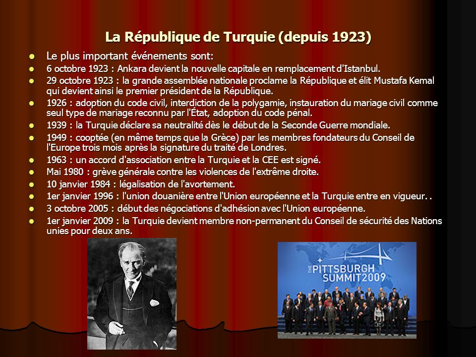 La République de Turquie (depuis 1923)