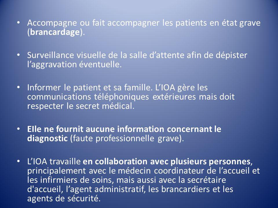 Accompagne ou fait accompagner les patients en état grave (brancardage).