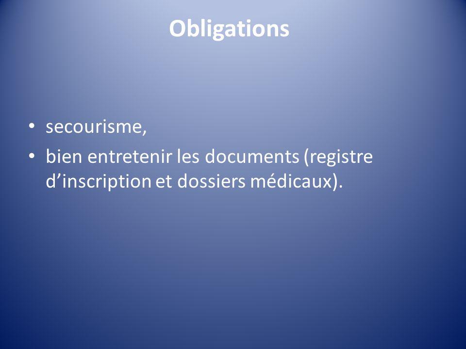 Obligations secourisme,