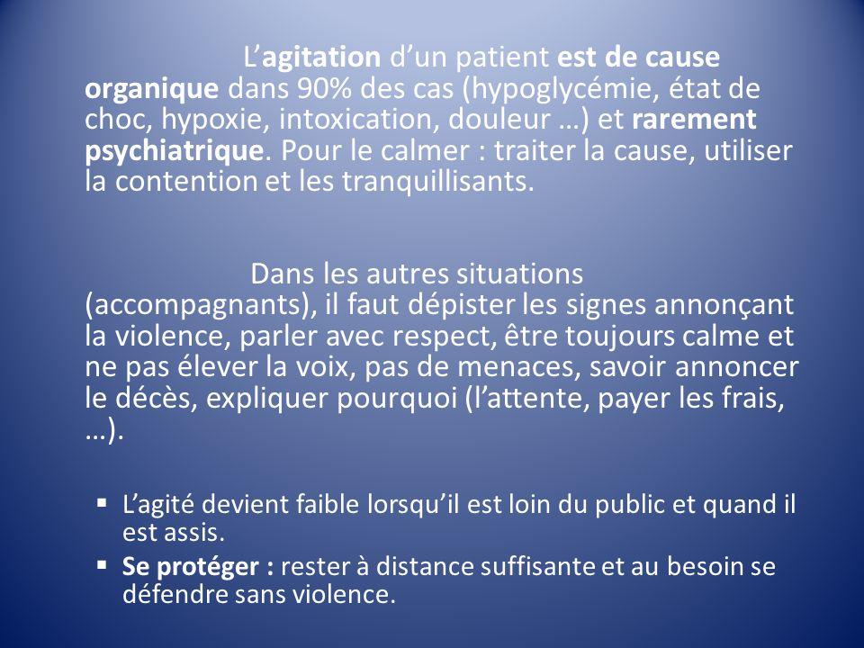 L'agitation d'un patient est de cause organique dans 90% des cas (hypoglycémie, état de choc, hypoxie, intoxication, douleur …) et rarement psychiatrique. Pour le calmer : traiter la cause, utiliser la contention et les tranquillisants.
