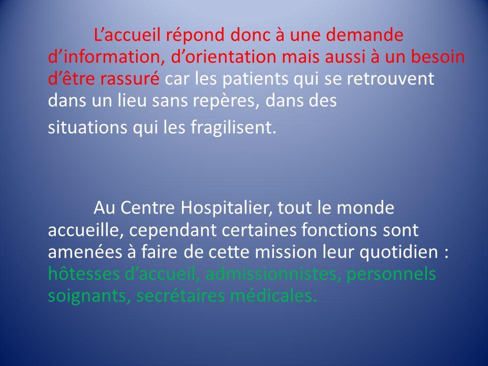 L'accueil répond donc à une demande d'information, d'orientation mais aussi à un besoin d'être rassuré car les patients qui se retrouvent dans un lieu sans repères, dans des situations qui les fragilisent.