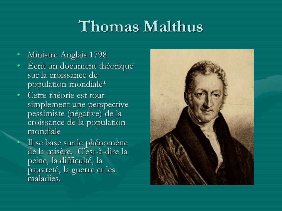 Thomas Malthus Ministre Anglais 1798