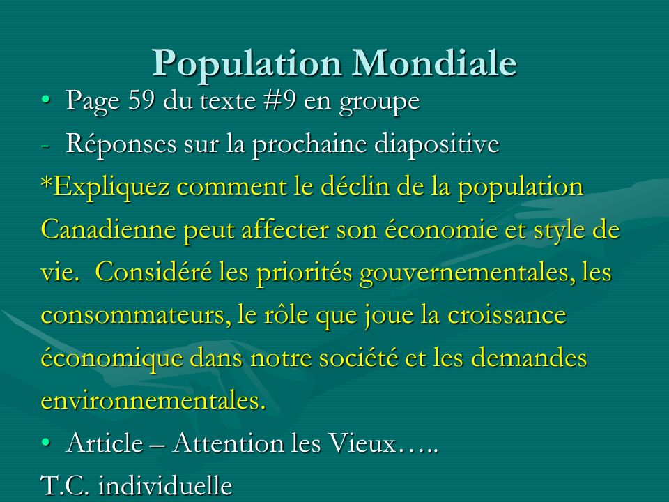 Population Mondiale Page 59 du texte #9 en groupe