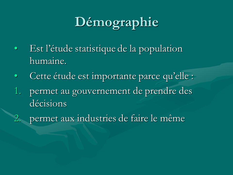 Démographie Est l'étude statistique de la population humaine.