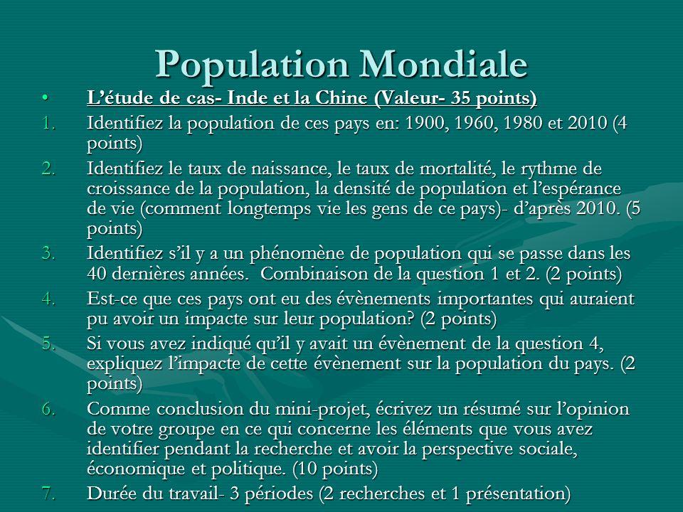 Population MondialeL'étude de cas- Inde et la Chine (Valeur- 35 points) Identifiez la population de ces pays en: 1900, 1960, 1980 et 2010 (4 points)