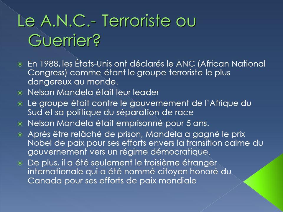 Le A.N.C.- Terroriste ou Guerrier