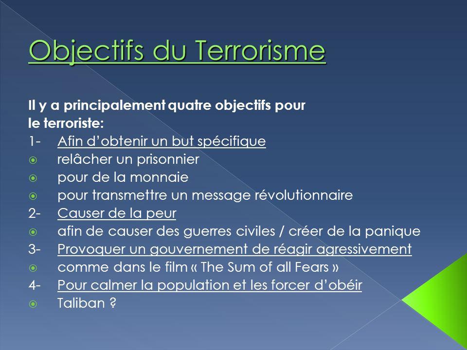 Objectifs du Terrorisme