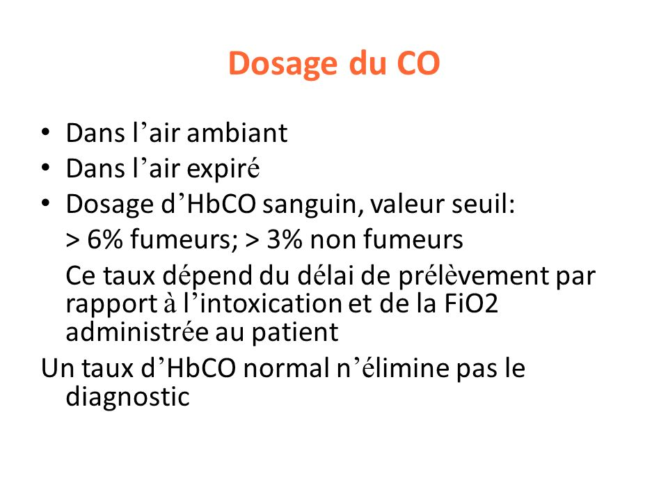 Dosage du CO Dans l'air ambiant Dans l'air expiré