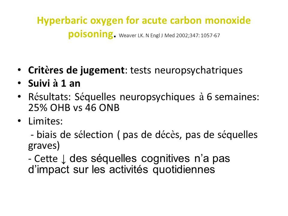 Hyperbaric oxygen for acute carbon monoxide poisoning. Weaver LK