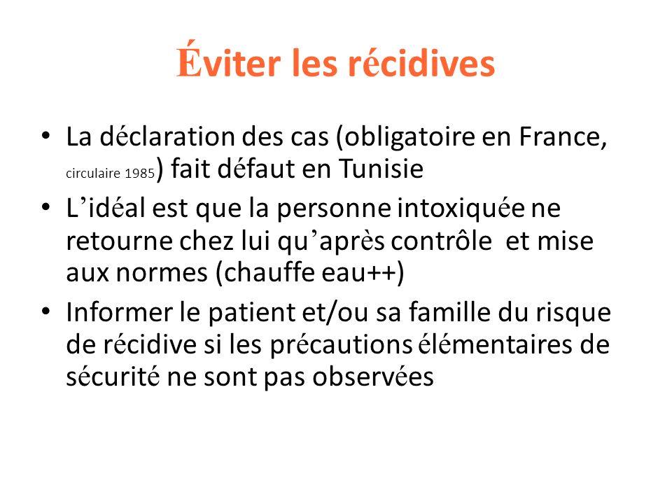 Éviter les récidivesLa déclaration des cas (obligatoire en France, circulaire 1985) fait défaut en Tunisie.