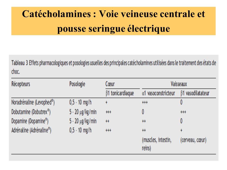 Catécholamines : Voie veineuse centrale et pousse seringue électrique