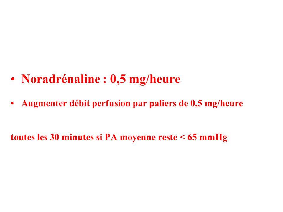 Noradrénaline : 0,5 mg/heure