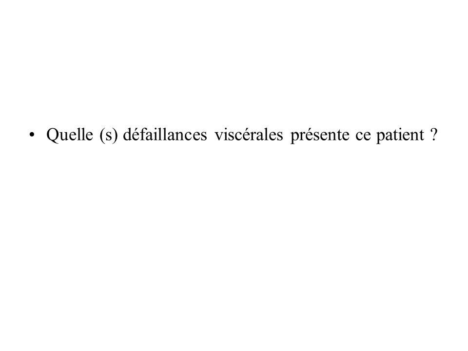 Quelle (s) défaillances viscérales présente ce patient
