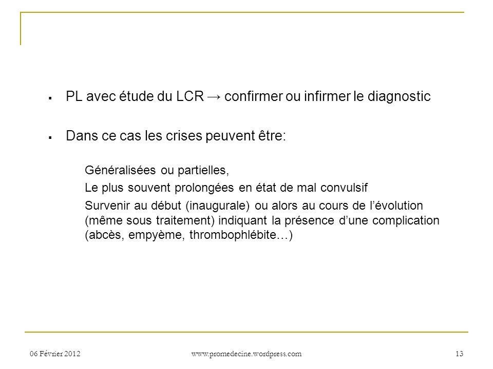 PL avec étude du LCR → confirmer ou infirmer le diagnostic