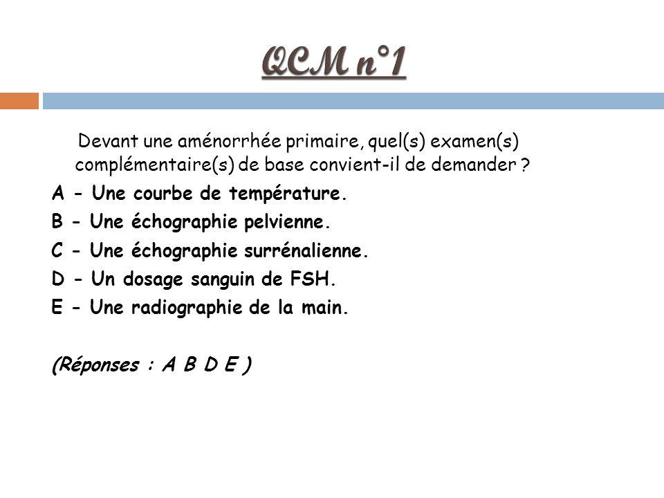QCM n°1 Devant une aménorrhée primaire, quel(s) examen(s) complémentaire(s) de base convient-il de demander