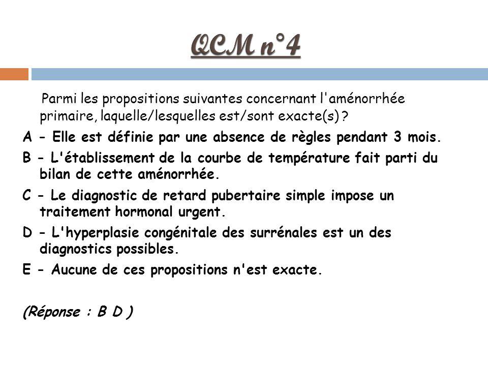QCM n°4 Parmi les propositions suivantes concernant l aménorrhée primaire, laquelle/lesquelles est/sont exacte(s)