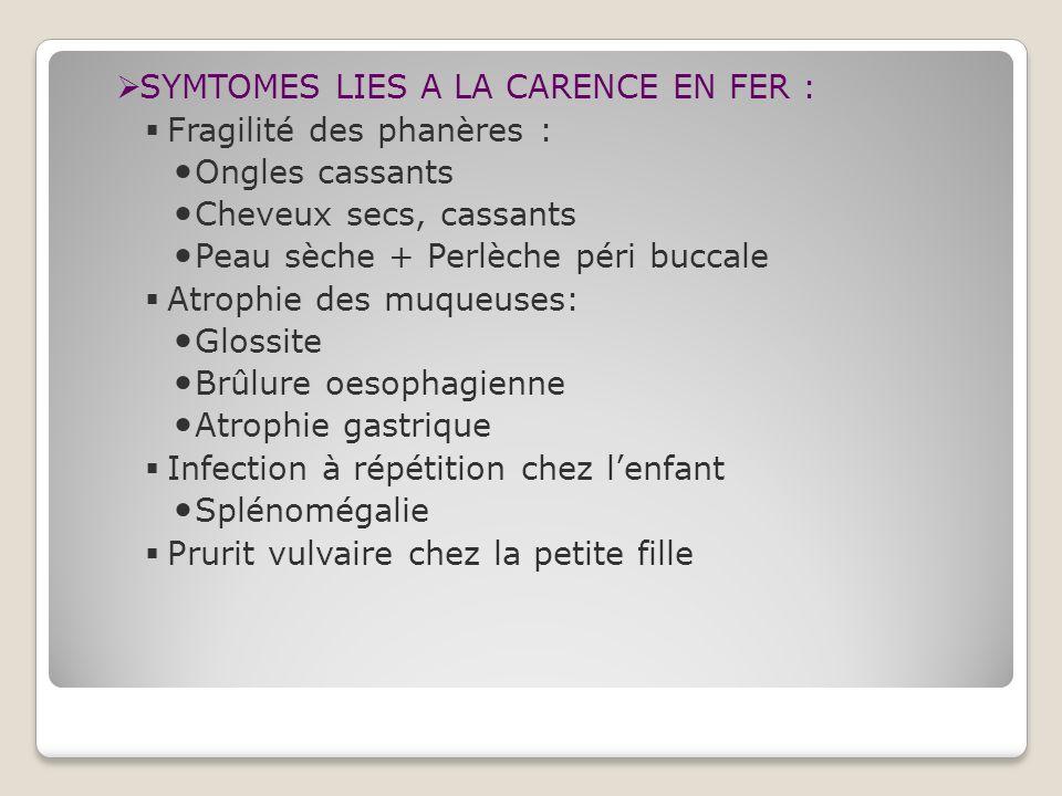 SYMTOMES LIES A LA CARENCE EN FER :