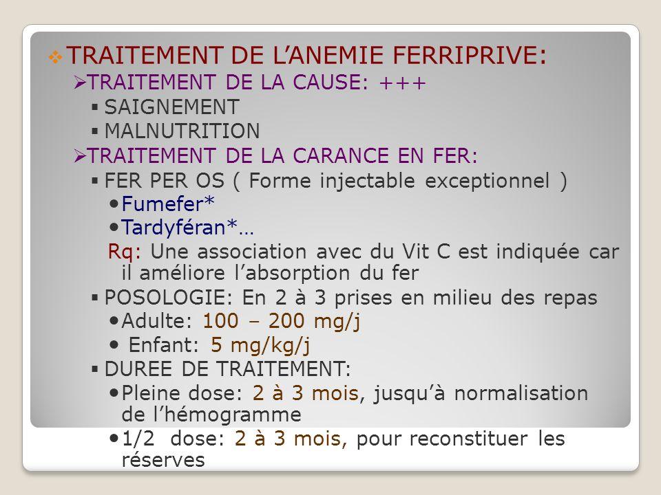 TRAITEMENT DE L'ANEMIE FERRIPRIVE: