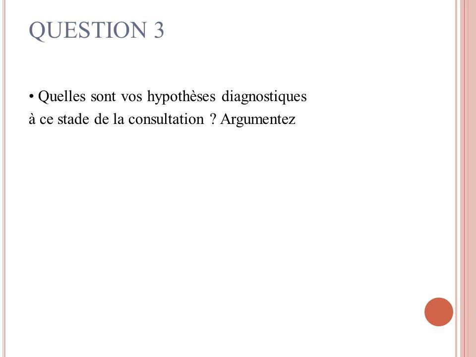 QUESTION 3 • Quelles sont vos hypothèses diagnostiques à ce stade de la consultation Argumentez