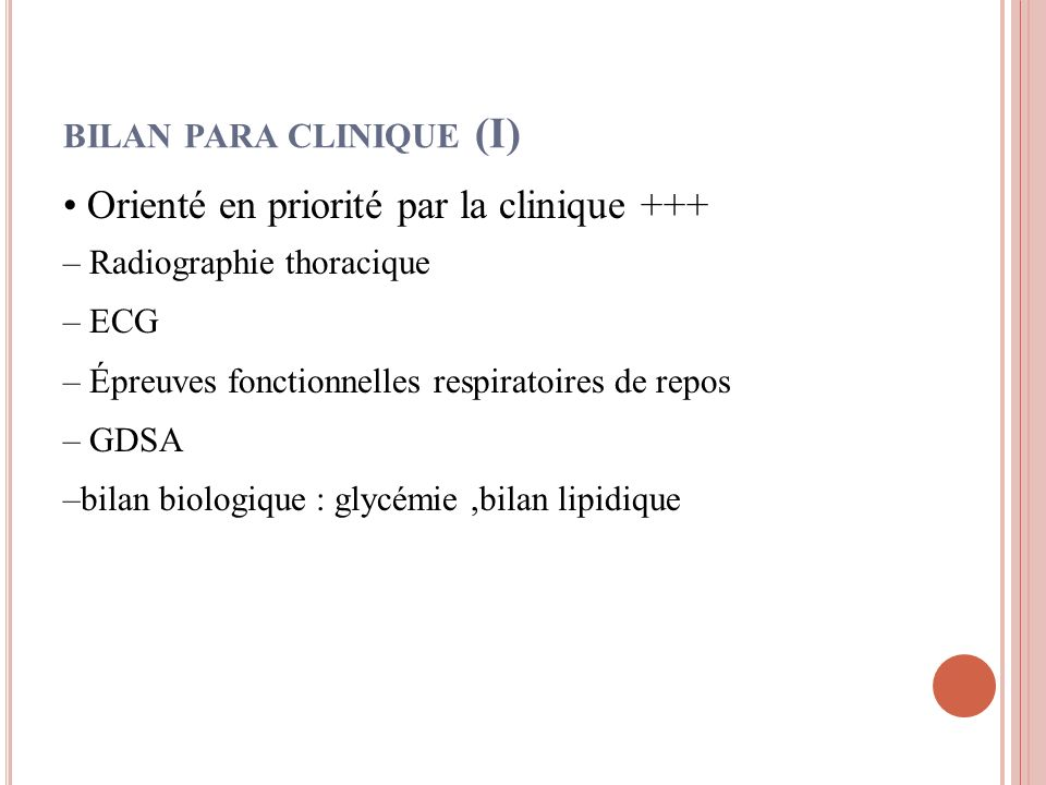 bilan para clinique (I)