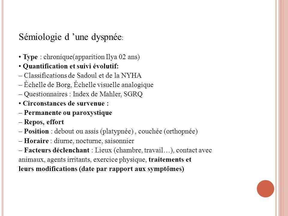 Sémiologie d 'une dyspnée: