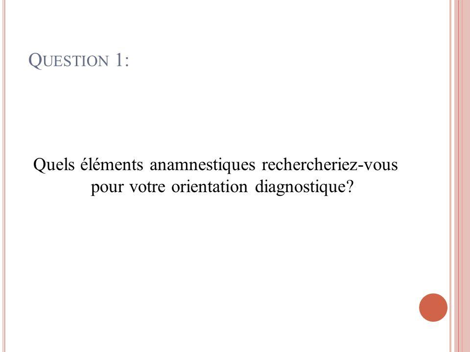 Question 1: Quels éléments anamnestiques rechercheriez-vous pour votre orientation diagnostique