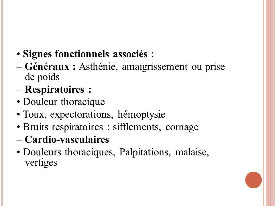 • Signes fonctionnels associés :
