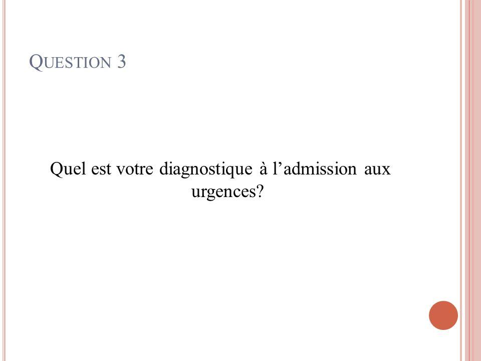 Quel est votre diagnostique à l'admission aux urgences