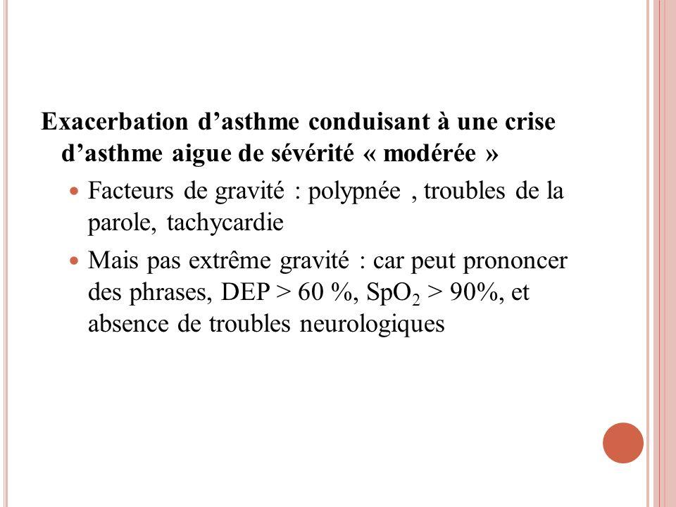 Exacerbation d'asthme conduisant à une crise d'asthme aigue de sévérité « modérée »