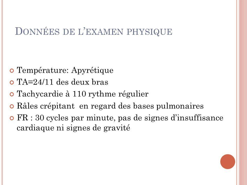 Données de l'examen physique