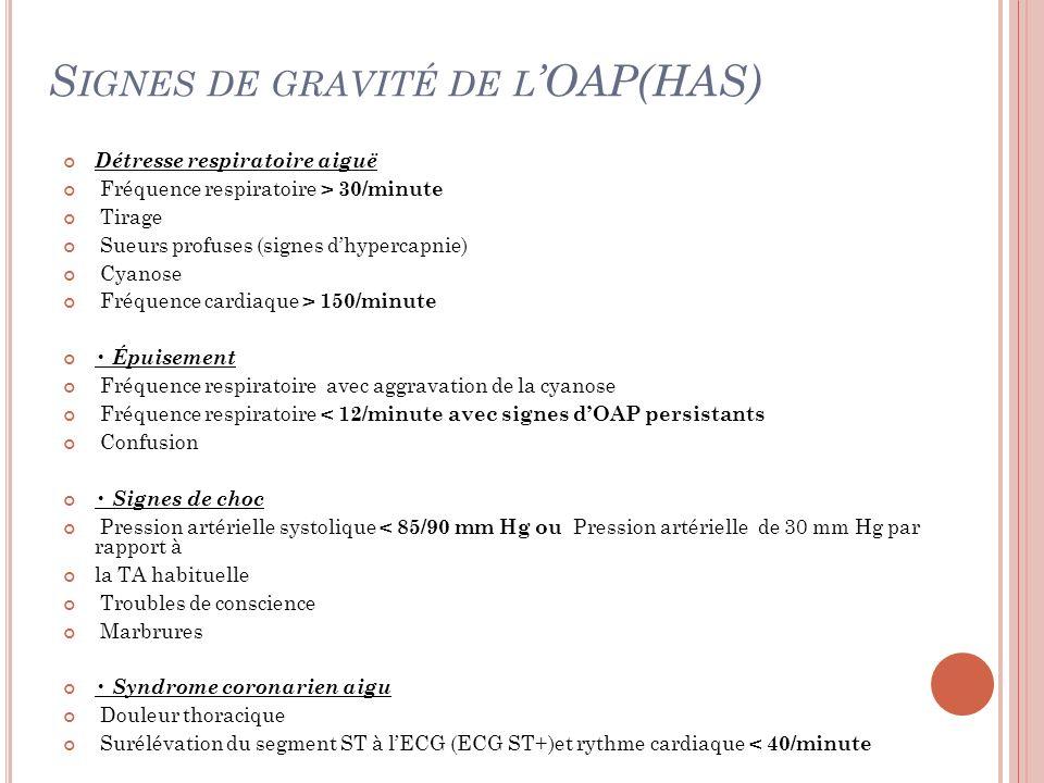Signes de gravité de l'OAP(HAS)