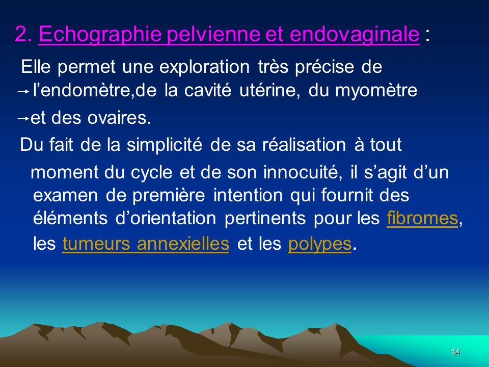 2. Echographie pelvienne et endovaginale :