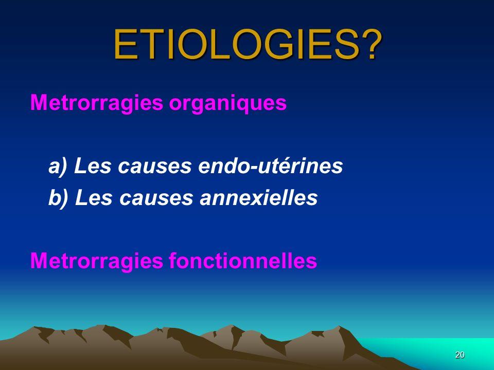 ETIOLOGIES Metrorragies organiques a) Les causes endo-utérines