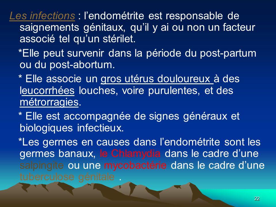 Les infections : l'endométrite est responsable de saignements génitaux, qu'il y ai ou non un facteur associé tel qu'un stérilet.