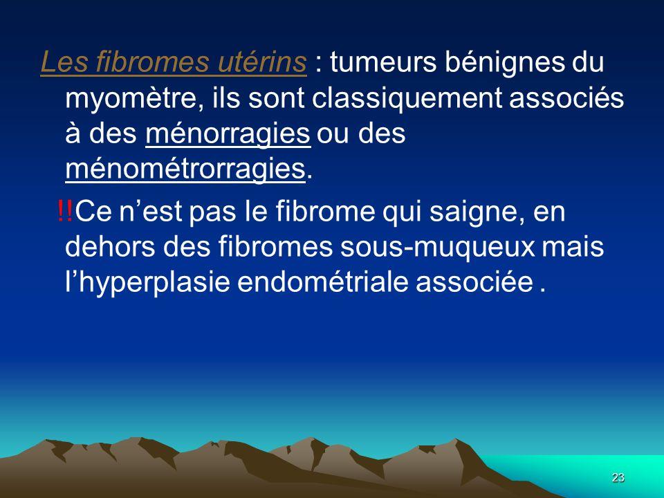 Les fibromes utérins : tumeurs bénignes du myomètre, ils sont classiquement associés à des ménorragies ou des ménométrorragies.