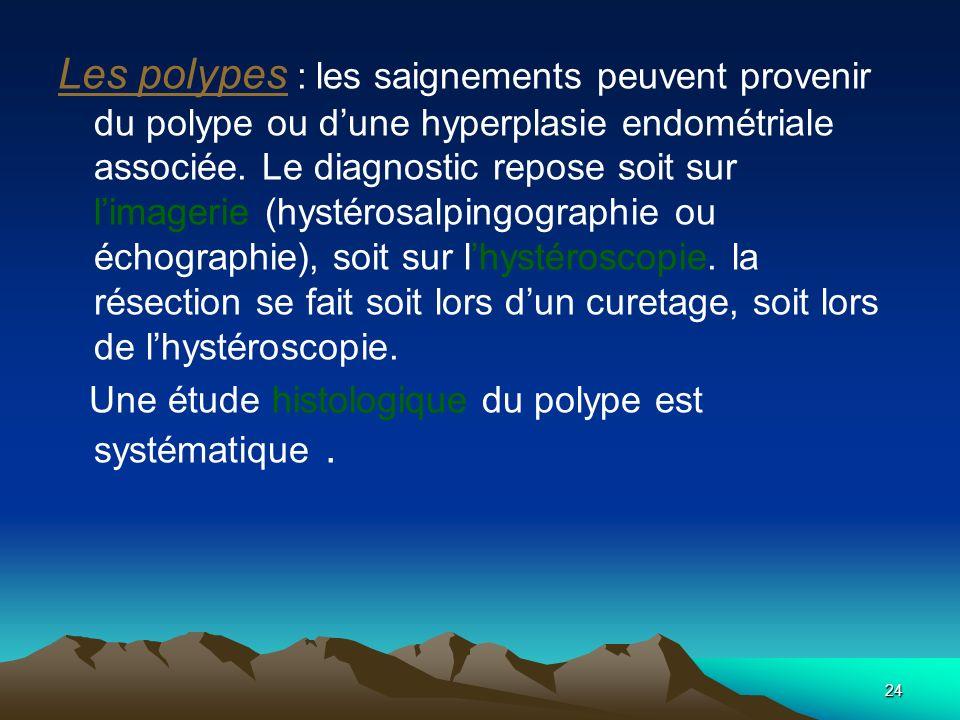 Les polypes : les saignements peuvent provenir du polype ou d'une hyperplasie endométriale associée. Le diagnostic repose soit sur l'imagerie (hystérosalpingographie ou échographie), soit sur l'hystéroscopie. la résection se fait soit lors d'un curetage, soit lors de l'hystéroscopie.